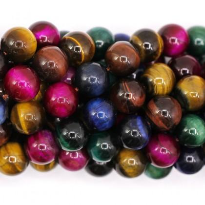 Stone Bead,Tiger Eye, Multi Colour, 8mm-12mm, Round, L1-05227