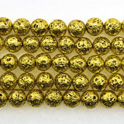 Coated Lava Stone, Gold Plated, 8mm-10mm, Round, L1-05275