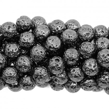 Coated Lava Stone, Gunmetal Plated, 8mm-10mm, Round, L1-05273