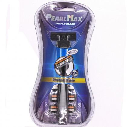 Manual Men Shaver Rubber Handle, 3 Layer Blade, Pivoting Razor (Free 3 Replacement Blade)