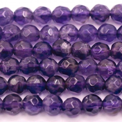 A Grade Natural Amethyst Gemstone Beads, 4mm, Faceted Round, L1-00368