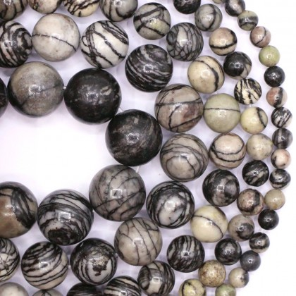 Natural Black Line Jasper Gemstone Beads, Stone Bead, 4mm-12mm, Smooth Round, Diy, L3-02057