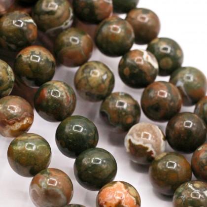 Natural Green Rhyolite Gemstone Beads, Rainforest Jasper, Stone Bead, 6mm-10mm, Smooth Round, Diy, L3-02361